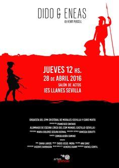 Cartel ganador para representar la obra de opera Dido y Eneas celebrada por el alumnado de escena lírica del CMS Manuel Castillo #Sevilla