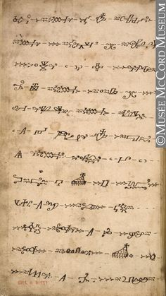 "1790 Mi'kmaq (First Nations) Prayerbook manuscript at the McCord Museum, Montreal - From the curators' comments: ""This page is from a manuscript written using hieroglyphic characters developed by French missionaries to teach religion, the lives of the saints and hymns to the Mi'kmaq....Following the departure of French missionaries for their homelands, many works in hieroglyphics were handed down within Mi'kmaq families, who preciously conserved them."""