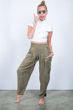 a5225e5f2 CHI CHI VON TANG Olive Drapey Harem Pants