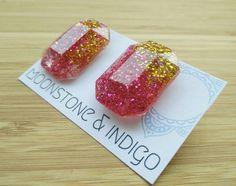 Glitter Resin Stud Earrings-Resin Earrings-Glitter Earrings- Glitter Studs- Sparkly Earrings- Silver Stud Earring- Many Colours Available