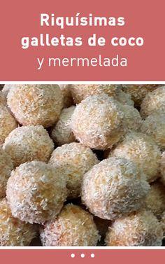 #receta #galletas #coco #mermelada Cookie Cups, Almond Cakes, Empanadas, Sweet Bread, Sin Gluten, Macaroons, Scones, Cereal, Food And Drink