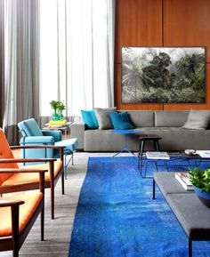 #livingroom | Contemporary spaces etched in a blue color palette: Casa IV
