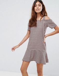 Daisy Street Gingham Dress With Cold Shoulder And Ruffle Hem - Red
