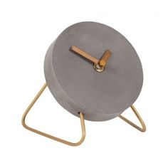 Cult Design Stone Studio Concrete & Wire Mini Desk Clock - Gold