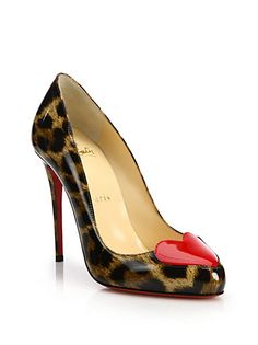 Christian Louboutin - Printed Patent Leather Heart-Toe Pumps