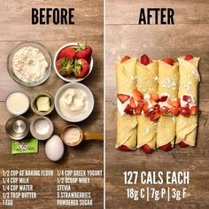 Gluten Free Strawberries and Cream Crepes. I haven't messed around with this recipe but I think I can get each one to be under 100 calories… Healthy Meal Prep, Healthy Breakfast Recipes, Healthy Desserts, Healthy Drinks, Healthy Recipes, Healthy Eating, Healthy Foods, 100 Calorie Breakfast, Keto Recipes