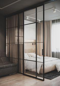 Studio Apartment Living, Studio Apartment Design, Modern Apartment Design, Small Apartment Interior, Condo Interior, Home Room Design, Master Bedroom Design, Home Interior Design, House Design