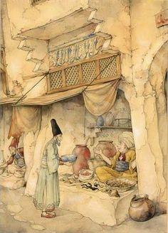 Anton Pieck (Dutch artist) 1895 - 1987 An Illustration For 'The Arabian Nights'; The Night, The Story Of Mole; Sjamseddin Visiting A Chemist, s. Anton Pieck, Dutch Painters, Fairytale Art, Dutch Artists, Arabian Nights, Vintage Artwork, Illustrations And Posters, Children's Book Illustration, Illustrators