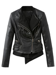 Want! Want! Want! Love Leather! Black Leather Look Splice Hem Biker Jacket With Zipper Detail #Black #Leather #Moto #Biker #Jacket #Fall #Winter #Fashion