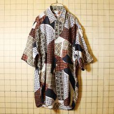 80s euro ヨーロッパ デザイン 古着 幾何学模様 レーヨン プリント シャツ 半袖 総柄 ブラウン ホワイト メンズXL相当 ビッグサイズ