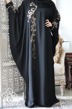 abaya Nida material Rate 2999 All sizes are available Abaya Designs Latest, Abaya Designs Dubai, African Maxi Dresses, Latest African Fashion Dresses, Niqab Fashion, Fashion Outfits, Farasha Abaya, Burqa Designs, Abaya Mode