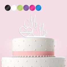 Cake Topper Tortendekoration Acryl 'Mr & Mrs' personalisiert mit Hochzeitsdatum