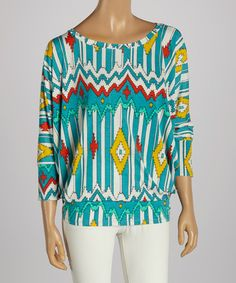 Take+a+look+at+the+Blue+&+Yellow+Tribal+Scoop-Neck+Top+on+#zulily+today!