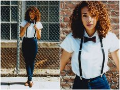 Shemmai Torres - American Apparel Easy Jean, American Apparel Round Collar Short Sleeve Button Up, American Apparel Suspenders, American Apparel Plaid Bow Tie - Your giving me such sweet nothings Suspenders Outfit, Suspenders For Women, Women Bow Tie, How To Wear Suspenders, Look Fashion, Fashion Outfits, Outfits Mujer, Mein Style, Short Sleeve Button Up