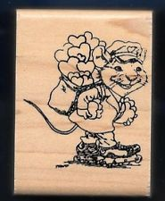 POSTMAN MOUSE Love Note Post Delivery Skate WALLACE TRIPP KIDSTAMPS Rubber Stamp