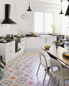 kitchen with retro floor and painted bricks