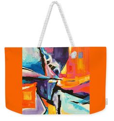 Bright Orange Dominates This Painting Full Of Angel And Blocks Big Black Slashes Weekender Tote Bag featuring the painting First Impressions by Expressionistartstudio Priscilla-Batzell