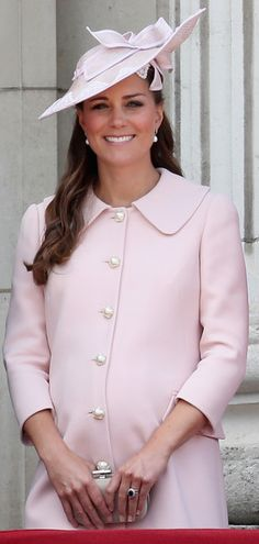 The Duchess of Cambridge in her last public appearance before giving birth to her first child (Alexander McQueen Wool Coat)