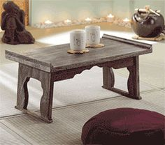 Folding kiri wood table is a perfectly sized Asian home accent furniture piece. Ideal for a small Buddhist altar, puja table or Asian tea table. Lightweight, it folds flat for easy storage. Kiri wood is fast-growing, sustainable and eco-friendly. Made in Thailand. 23-1/2quot; w x 13-1/4quot; d x 10-1/2quot; h