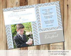First Communion Photo Invitation  Tres Beau  Boy  por starwedd, $20.00