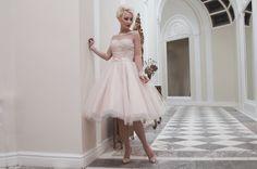 House of Mooshki blush tulle tea length wedding dress | see more on: http://burnettsboards.com/2014/04/house-mooshki/