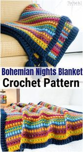 Bohemian Nights Blanket: Whether you are looking for crochet baby blanket, crochet afghan or a beginners-friendly blanket, this collaboration has many wonderful crochet blanket patterns for you. Crochet Afghans, Crochet Quilt, Afghan Crochet Patterns, Baby Blanket Crochet, Diy Crochet, Crochet Crafts, Crochet Baby, Crochet Projects, Yarn Projects