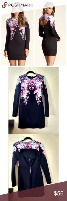 c40d98ce47 Bebe Long Sleeve Key-hole Floral Scuba Dress Med This lovely Bebe dress is  in