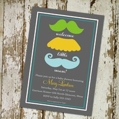 Baby boy shower invitation, mustaches, little man, digital, printable file (item 1263). $13.00, via Etsy.