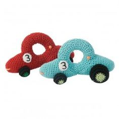 crocheted rattle race car