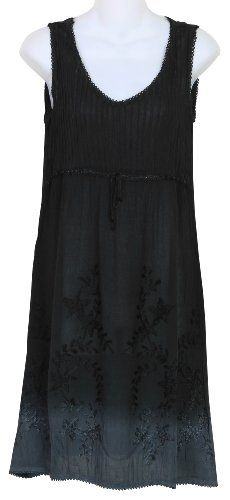 Raya Sun Missy and Plus Size Embroidered Pintuck Ombre Dress/Cover Up