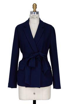 Navy Blue Self-Tie Blazer