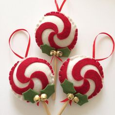 Christmas decorations in soft felt and with rattle by Momsbunny on Etsy /.Lollipop Christmas decorations in soft felt and with rattle by Momsbunny on Etsy /. Lollipop decorations for Christmas in soft felt and with Lollipop Decorations, Felt Christmas Decorations, Christmas Ornaments To Make, Christmas Sewing, Noel Christmas, Felt Ornaments, Handmade Christmas, Holiday Crafts, Beaded Ornaments