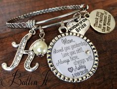 Mother of the BRIDE, Mother of the GROOM, Personalized wedding, Initial jewelry, BANGLE bracelet, Loved you yesterday, love you still by buttonit on Etsy Mother Of Bride Gifts, Mother Of The Bride, Personalized Wedding, Personalized Gifts, Handmade Gifts, Bangle Bracelets, Bangles, Initial Jewelry, Dog Tag Necklace