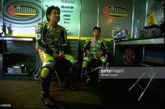 Toshihiko Honma and Shinya Nakano of the Chesterfield Yamaha 250 team relax during the F.I.M French Bike Grand Prix held at the Paul Ricard Circuit in Le Castellet, France. \ Mandatory Credit: Michael Cooper /Allsport