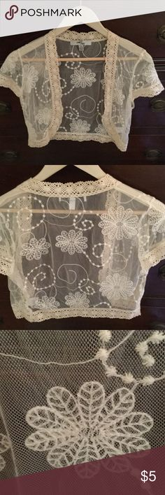 One 7 Six  crop shawl Very delicate lace with crocheted trim. Super light weight. So feminine! Pretty addition for a strapless dress or blouse or added to spaghetti strap top or dress.... Accessories Scarves & Wraps