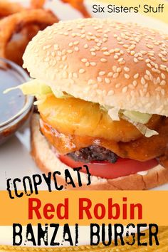Red Robin Banzai Burger Copycat Red Robin Banzai Burger from . No need to go out with this tasty recipe!Copycat Red Robin Banzai Burger from . No need to go out with this tasty recipe! Burger Recipes, Grilling Recipes, My Recipes, Beef Recipes, Cooking Recipes, Favorite Recipes, Fondue Recipes, Chicken Recipes, Dinner Recipes