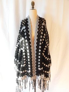 ENORMOUS Boho CROCHETTED SHAWL by HousewifeVintage on Etsy, $36.00