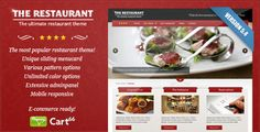 This Wordpress theme is a slick and highly customizable theme for restaurants and anything alike. Change colors with a colorpicker, simply switch the layout and add your own sliding menucard to impress your customers! Theme Forest, Restaurant Themes, Professional Web Design, Mobile Responsive, Ecommerce Solutions, Website Themes, Wordpress Template, Premium Wordpress Themes, Website Template