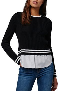 Topshop Mixed Stripe Layer Top available at #Nordstrom