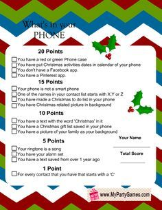 What's in Your Phone Game, Christmas Version