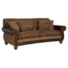 """Paisley chenille and top grain leather sofa with hand-applied nailhead trim.  Product: SofaConstruction Material: Grain leather, chenille, wood and brassColor: MultiFeatures:  Hand-tufted backNailhead trimIncludes pillows Dimensions: 45"""" H x 87.5"""" W x 38.5"""" D"""