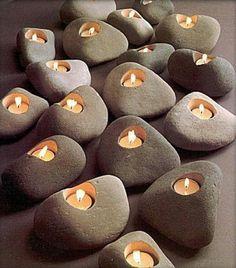 besondere kerzen Steinen aus dem Fluss