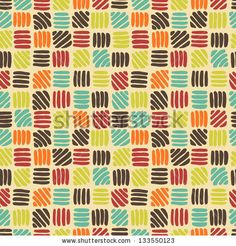 Hand drawn  abstract geometric seamless pattern in retro palette. by Annareichel, via Shutterstock