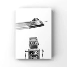 This listing is for one Unframed Photo on photo paper or Stretched canvas (Ready to hang) of A Retro Tin Robot and Flying Saucer. Please select either photo or canvas as well as the size youd like from the drop down menu as you place it in your cart. Pricing is also available there. PHOTOS are Cheap Canvas Prints, Custom Canvas Prints, Stretched Canvas Prints, Vintage Sports Decor, Outer Space Decorations, Retro Robot, Mother In Law Gifts, Flying Saucer, Boy Room