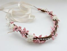 Bohemian Floral Crown, Wedding, Bridal Headpiece. Woodland, Bohemian, Spring, Hair Tiara, flower crown, Spring, Floral