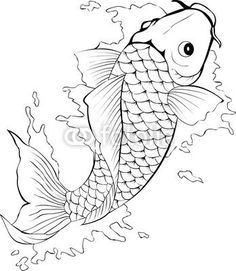 Golden fish template for tattoo: