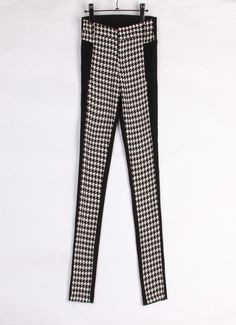 Fashion Houndstooth pattern stitching #pencil #pants, also for casual as well