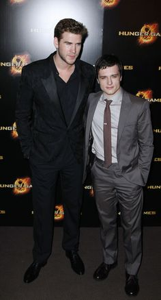 josh hutcherson and liam hemsworth: JH is just so little! look at the height difference.