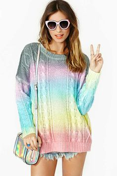 ♡ Rainbow sweater, I need to make one... without the grey.