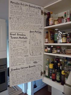 Best-beloved recipes painted inside the kitchen cabinet. includes Marcella's Pork in Milk, and this family's recipes for meatballs, biscotti, and mud cake. Inside Kitchen Cabinets, Upper Cabinets, White Cabinets, Cupboards, Kitchen Decor, Kitchen Design, Kitchen Ideas, Kitchen Recipes, Kitchen Notes